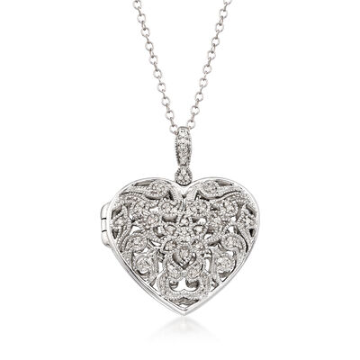 .14 ct. t.w. Diamond Filigree Heart Locket Pendant Necklace in Sterling Silver, , default