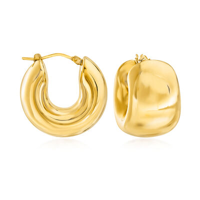 Italian Andiamo 14kt Yellow Gold Wide Huggie Hoop Earrings
