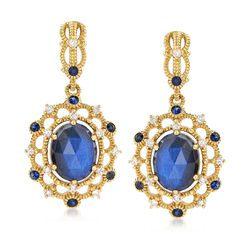 """Judith Ripka """"Versailles"""" Gray Labradorite Doublet and .40 ct. t.w. Sapphire Drop Earrings With Diamonds in 18kt Yellow Gold, , default"""