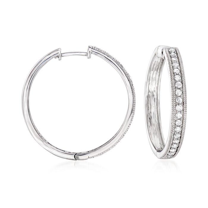 """.50 ct. t.w. Diamond Hoop Earrings in Sterling Silver. 7/8"""""""