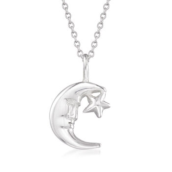"""Sterling Silver Moon and Star Pendant Necklace. 18"""", , default"""