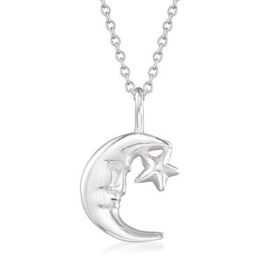 Sterling Silver Moon and Star Pendant Necklace, , default