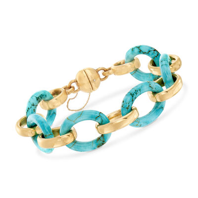 Andiamo Howlite Interlocking Bracelet in 14kt Yellow Gold with Magnetic Clasp, , default
