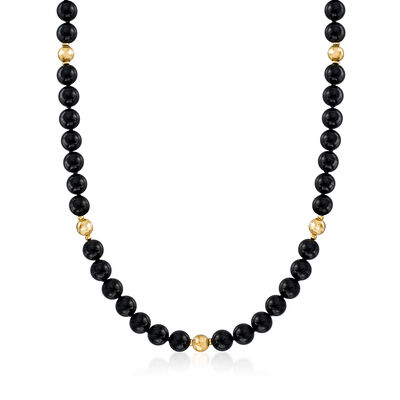 C. 1980 Vintage 9.9mm Black Onyx Bead Necklace in 14kt Yellow Gold