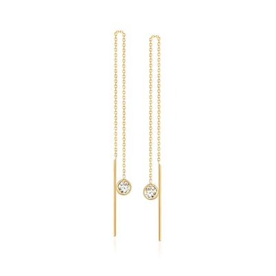 .35 ct. t.w. Bezel-Set CZ Threader Earrings in 14kt Yellow Gold, , default