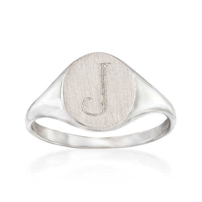 14kt White Gold Single Initial Round Signet Ring