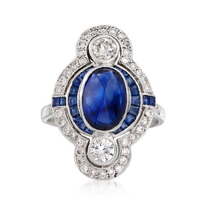C. 1980 Vintage 2.85 ct. t.w. Sapphire and .85 ct. t.w. Diamond Ring in 18kt White Gold