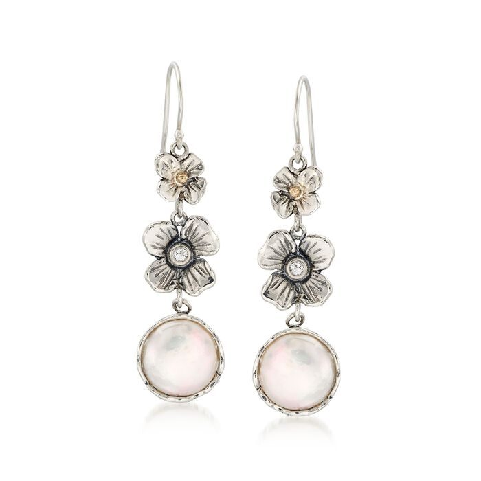 12mm Cultured Coin Pearl Floral Drop Earrings with White Topaz in Sterling and 14kt Gold