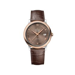 Omega De Ville Prestige Men's 39.5mm Stainless Steel and 18kt Rose Gold Watch With Brown Leather Strap and Dial , , default