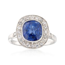 C. 1990 Vintage 3.85 Carat Sapphire and .45 ct. t.w. Diamond Ring in Platinum. Size 6.25, , default