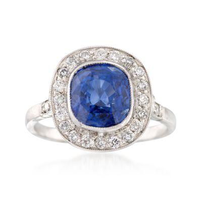 C. 1990 Vintage 3.85 Carat Sapphire and .45 ct. t.w. Diamond Ring in Platinum, , default