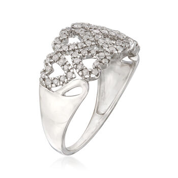 .40 ct. t.w. Diamond Double-Row Heart Ring in Sterling Silver, , default