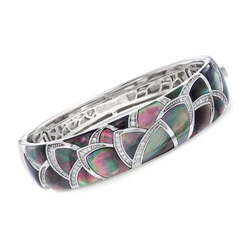 "Belle Etoile ""Sirena"" Black Mother-Of-Pearl and .30 ct. t.w. CZ Bangle Bracelet in Sterling Silver. 7"", , default"