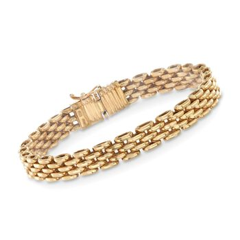 "Italian 18kt Yellow Gold Panther Link Bracelet. 7.25"", , default"