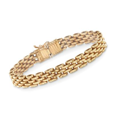 Italian 18kt Yellow Gold Panther Link Bracelet, , default