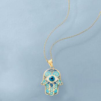 Blue Enamel Hamsa Hand Pendant Necklace in 14kt Yellow Gold, , default