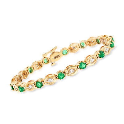 C. 1980 Vintage 2.80 ct. t.w. Emerald and .70 ct. t.w. Diamond Bracelet in 14kt Yellow Gold, , default