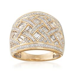 1.00 ct. t.w. Baguette and Round Diamond Crisscross Ring in 14kt Yellow Gold. Size 6, , default