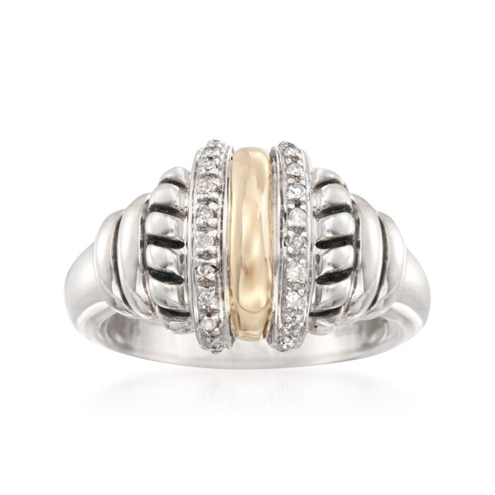 .10 ct. t.w. Diamond Ring in 14kt Yellow Gold and Sterling Silver, , default