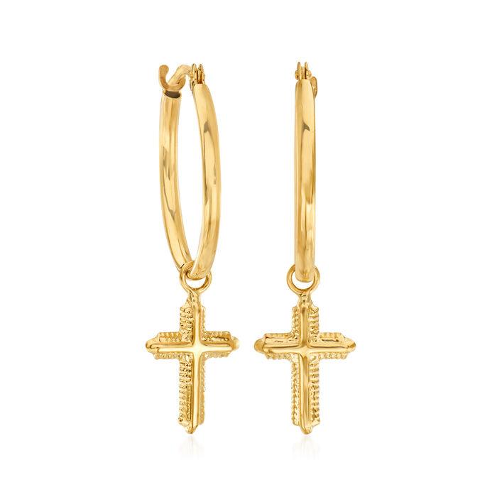 14kt Yellow Gold Beaded Cross Hoop Drop Earrings
