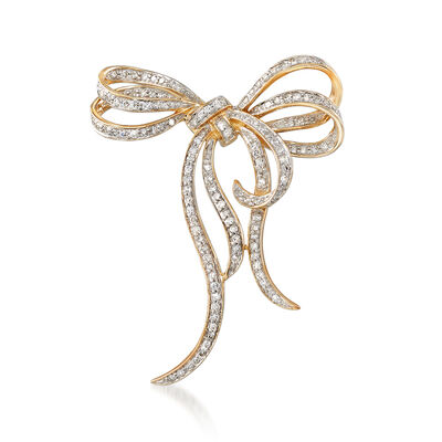 .71 ct. t.w. Diamond Bow Pin in 14kt Yellow Gold, , default