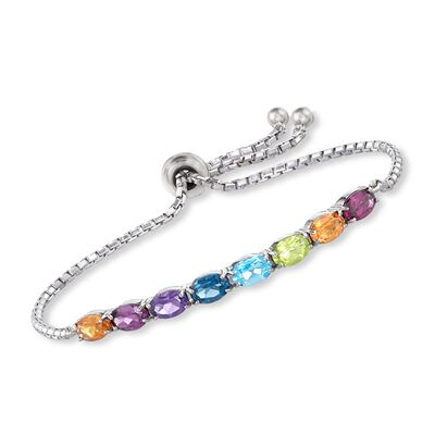 3.40 ct. t.w. Multi-Stone Bolo Bracelet in Sterling Silver, , default