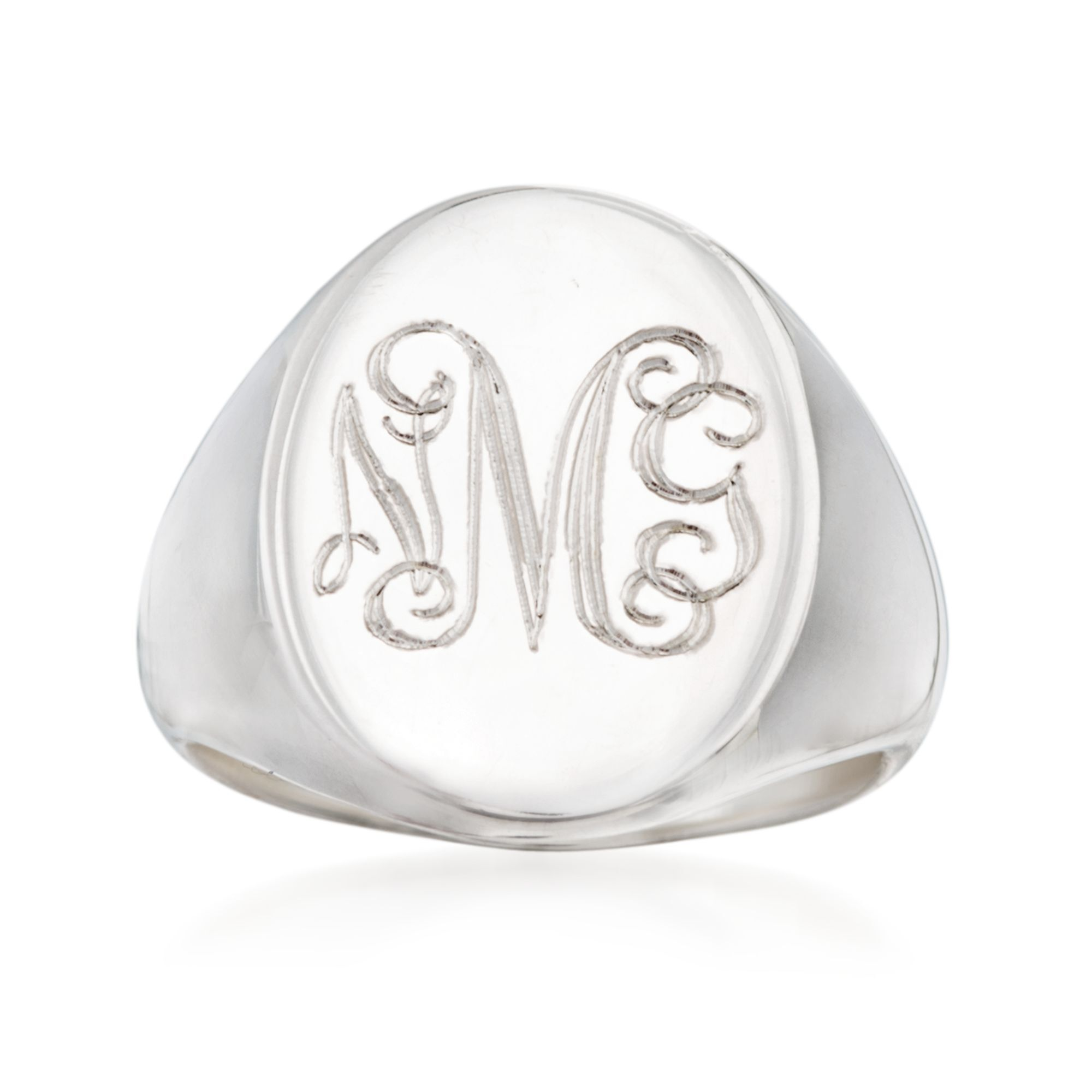 Customisable Your Message Engraved Free So Chic Jewels Mens Stainless Steel Clear Cubic Zirconia Oval Signet Ring