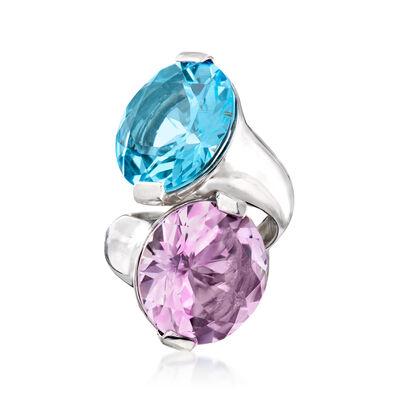 Franco Pianegonda 17.00 Carat Blue Topaz and 13.25 Carat Amethyst Ring in Sterling Silver