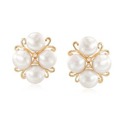 6-6.5mm Cultured Pearl Cluster Earrings With Diamond Accents in 14kt Gold, , default