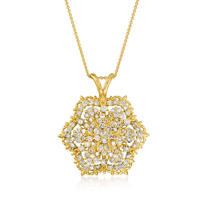 C. 1990 Vintage 5.00 ct. t.w. Diamond Spinning Flower Pendant Necklace in 18kt Yellow Gold
