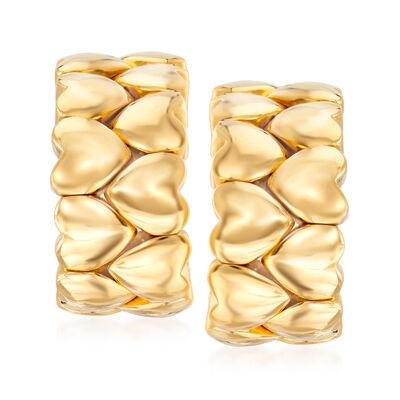 C. 1994 Vintage Cartier 18kt Yellow Gold Heart Hoop Earrings, , default