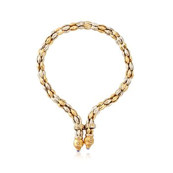 "C. 1990 Vintage 18kt Two-Tone Gold Y-Necklace With Blue Synthetic Spinel and .75 ct. t.w. CZs. 18"", , default"
