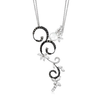 C. 1990 Vintage Stefan Hafner 10mm Cultured Pearl and 4.85 ct. t.w. Black and White Diamond Swirl Necklace in 18kt White Gold, , default
