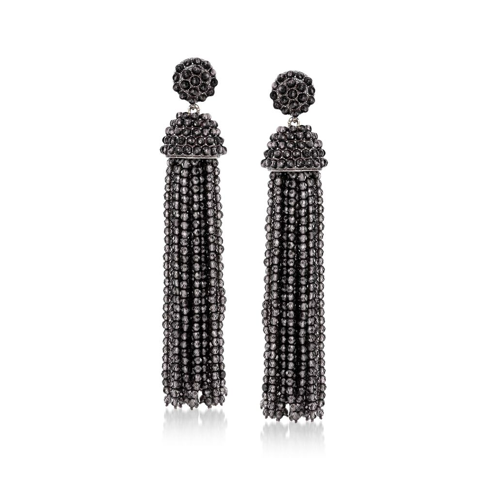 Black Onyx Bead Tel Drop Earrings In Sterling Silver Default