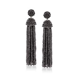Black Onyx Bead Tassel Drop Earrings in Sterling Silver , , default
