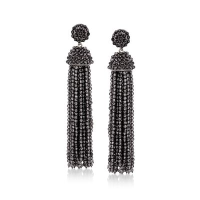 Black Onyx Bead Tassel Drop Earrings in Sterling Silver, , default