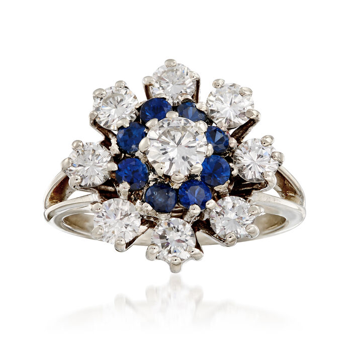 C. 1970 Vintage 1.40 ct. t.w. Diamond and .65 ct. t.w. Sapphire Cluster Ring in 14kt White Gold. Size 6, , default
