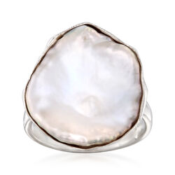 20x16mm Cultured Keshi Pearl Ring in Sterling Silver, , default