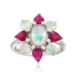 Ethiopian Opal and 1.20 ct. t.w. Ruby Flower Ring in Sterling Silver , , default