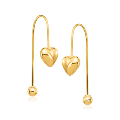 14kt Yellow Gold Puffed Heart Threader Earrings, , default