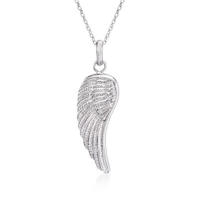 Sterling Silver Single Angel Wing Pendant Necklace, , default