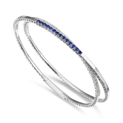 .70 ct. t.w. Sapphire and .60 ct. t.w. Diamond Wrap Bracelet in 18kt White Gold