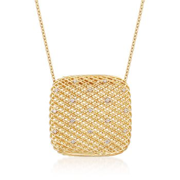 """Roberto Coin .13 ct. t.w. Diamond Pendant Necklace in 18kt Two-Tone Gold. 18"""", , default"""