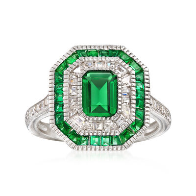 Simulated Emerald and .55 ct. t.w. CZ Ring in Sterling Silver, , default
