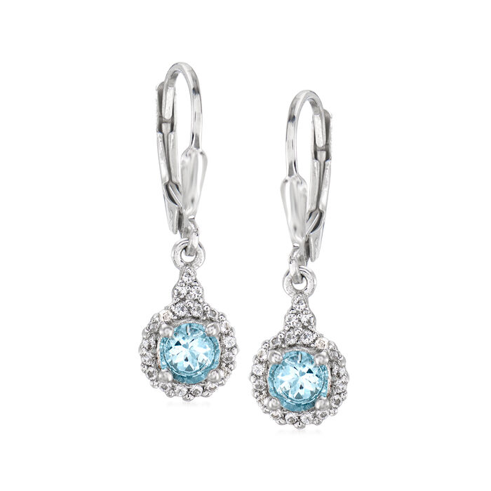 .80 ct. t.w. Aquamarine and .30 ct. t.w. White Topaz Drop Earrings in Sterling Silver
