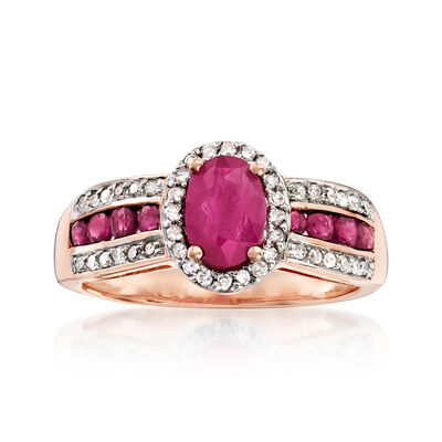 1.40 ct. t.w. Ruby and .20 ct. t.w. Diamond Ring in 14kt Rose Gold, , default