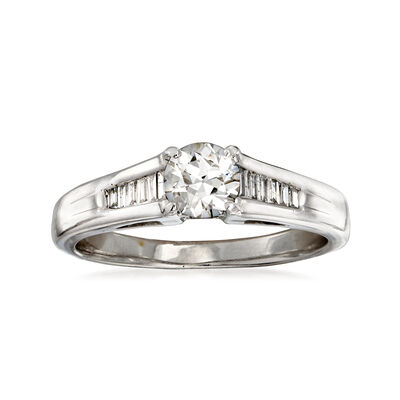 C. 1980 Vintage .85 ct. t.w. Diamond Ring in 18kt White Gold, , default