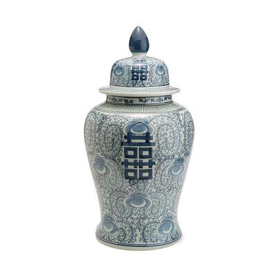 White and Blue Porcelain Double Happiness Large Temple Jar, , default