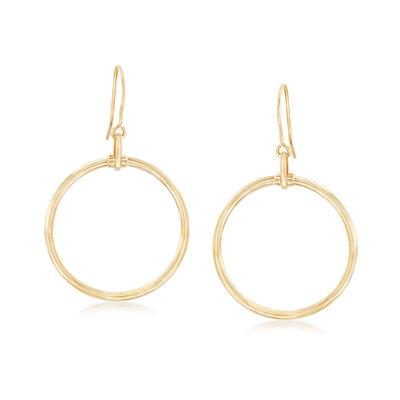 Italian 14kt Yellow Gold Open-Space Circle Drop Earrings, , default