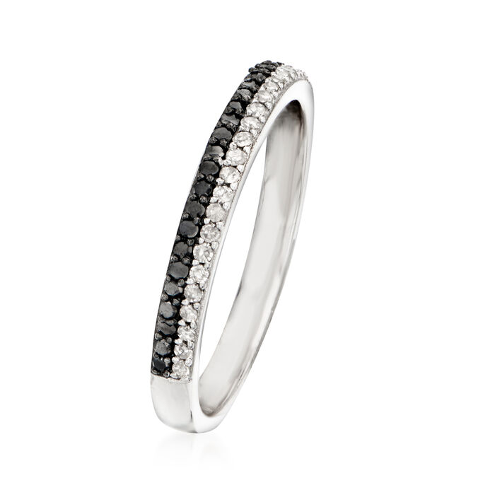 .25 ct. t.w. Black and White Diamond Two-Row Ring in Sterling Silver